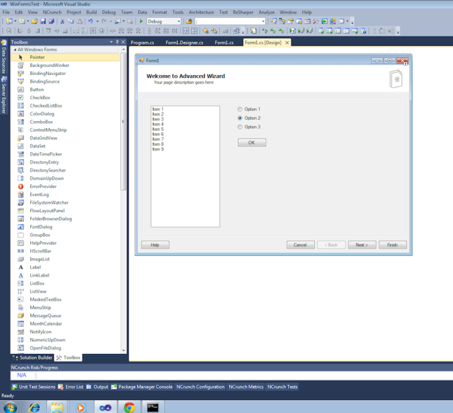 Picture of AdvancedWizard in the VS2010 IDE